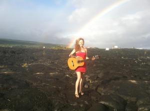 Me recording my Magma music video on the lava fields of Big island, Hawaii
